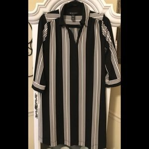 INC Black and White Striped Dress Sz Large New